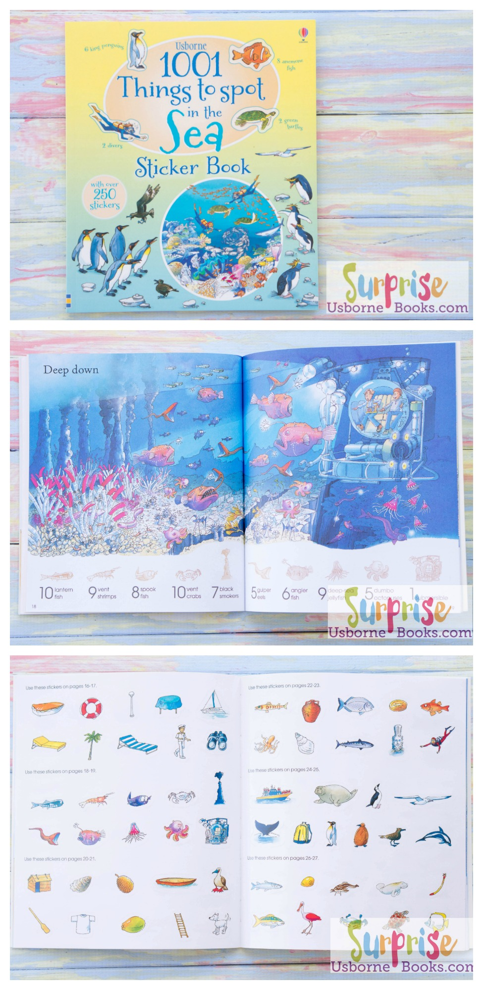 """Interactive sticker book full of busy, detailed illustrations. Items to spot within the main picture are shown in the border as silhouettes and each has a corresponding sticker which children can find, match and add in the correct place. With over a thousand things for children to find, count and talk about."" - 1001 Things to Spot in the Sea Sticker Book - https://z4065.myubam.com/p/5015/1001-things-to-spot-in-the-sea-sticker-book"